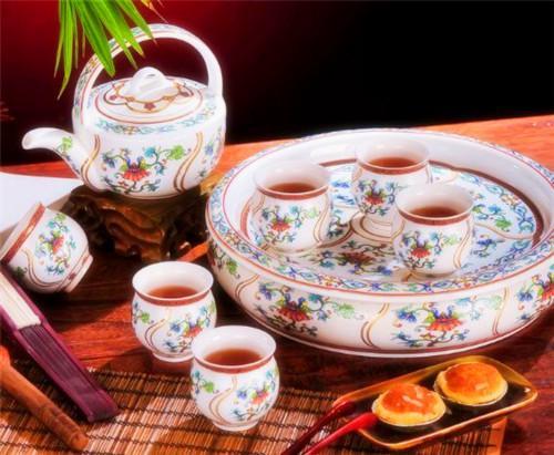 洛威 景德镇高档珐琅彩 本金粉彩茶具