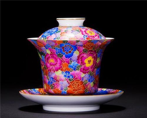 宏集轩 掐丝珐琅彩泡茶器三才杯万花茶盖碗