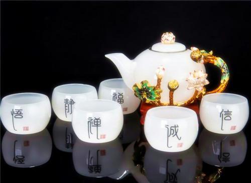 容山堂 玉瓷珐琅彩茶壶茶杯整套茶具琉璃
