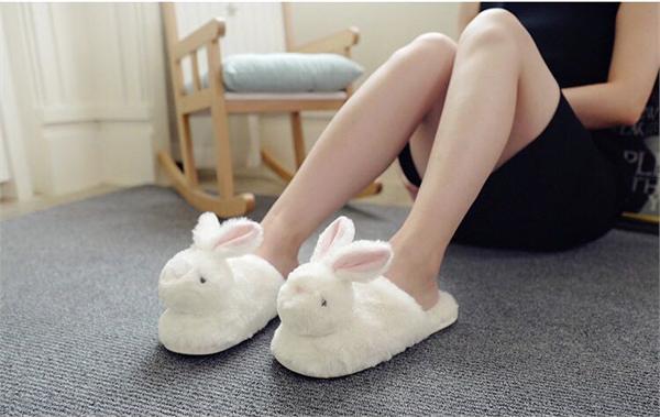 小希毛绒家居馆 毛绒可爱立体小兔子拖鞋