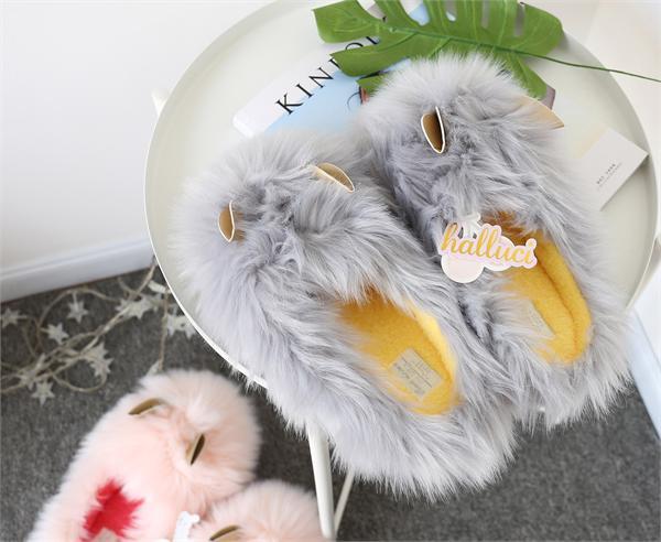 问一工作室 可爱毛绒保暖居家拖鞋