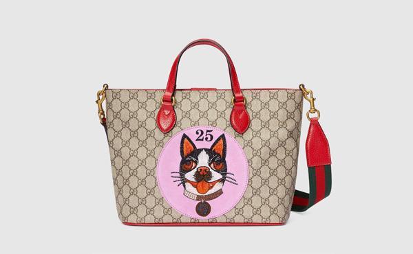 GUCCI波士顿梗犬Bosco刺绣贴花购物袋