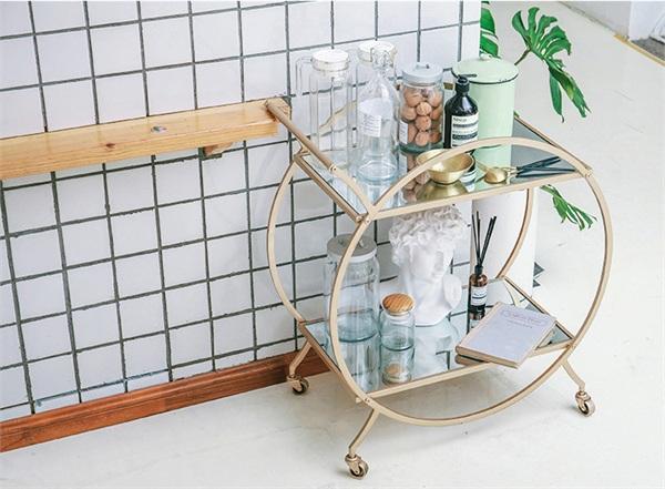 尚元铁艺家居 现代创意圆形铁艺餐车