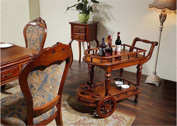 圣蒂伯爵高端美式实木家具 美式实木餐车