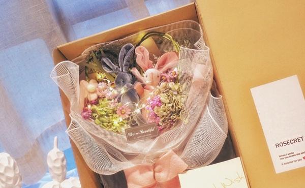 许愿兔永生花花束