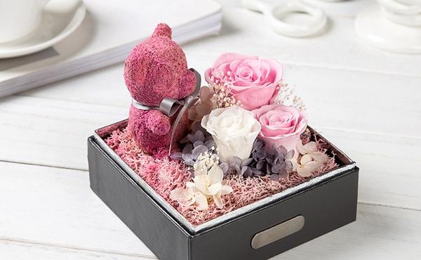 SEEROSE 永生花粉色苔藓玫瑰小熊礼盒