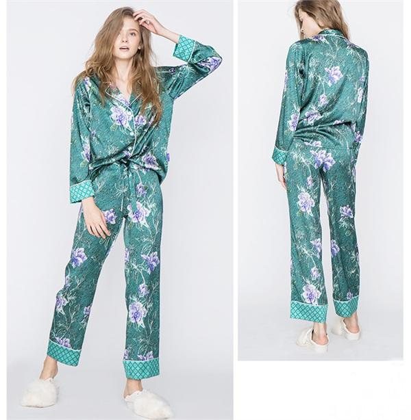 法国soie jardin丝绸花园 真丝植物花卉复古印花睡衣