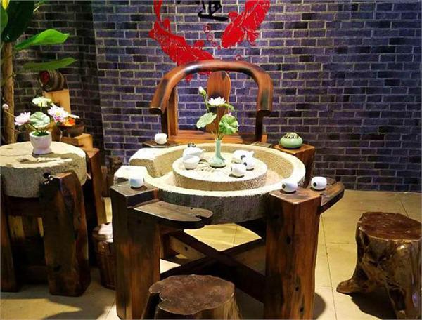 船奇木业 阳台仿古实木旧圆石磨茶台