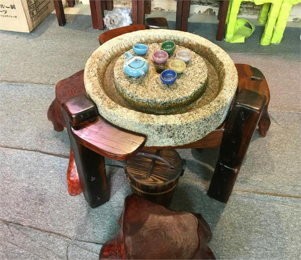 自然陈旧坊 旧圆石磨仿古实木茶台