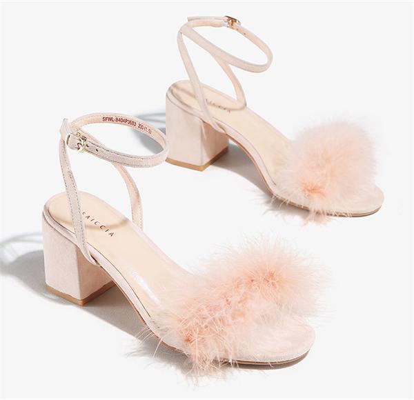 Faiccia/色非 毛毛高跟凉鞋