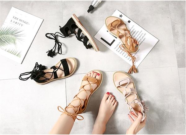 小仙侣女鞋 绑带罗马凉鞋