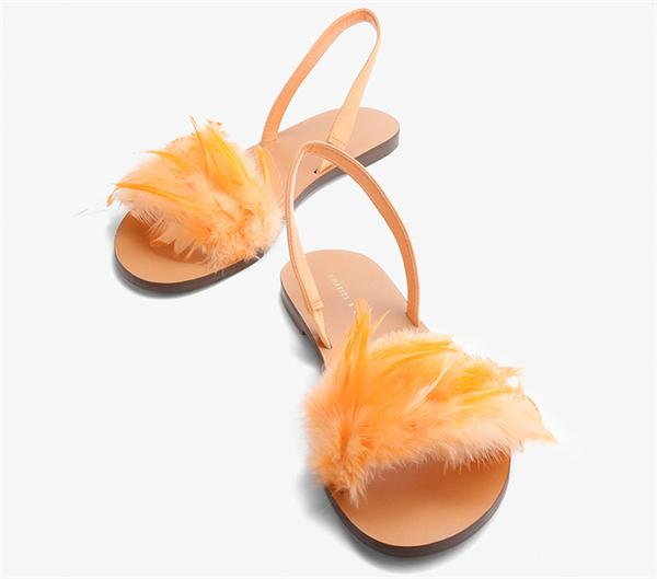 CHARLES&KEITH 度假羽毛平底凉鞋