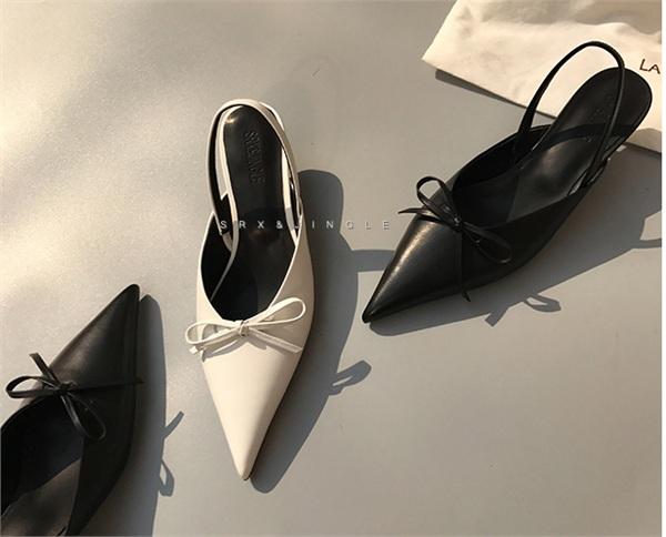 叮当精品鞋坊 尖头后提带蝴蝶结包头真皮凉鞋