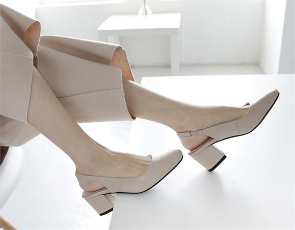 独家天使 休闲粗跟罗马方头鞋