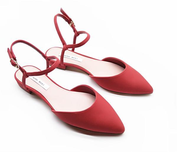 小吴定制女鞋 复古风尖头一字带低跟凉鞋