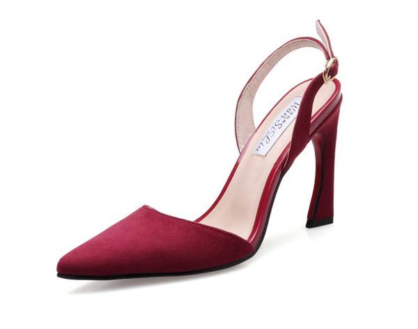琳迹时尚女鞋 猫跟绑带一字扣高跟凉鞋