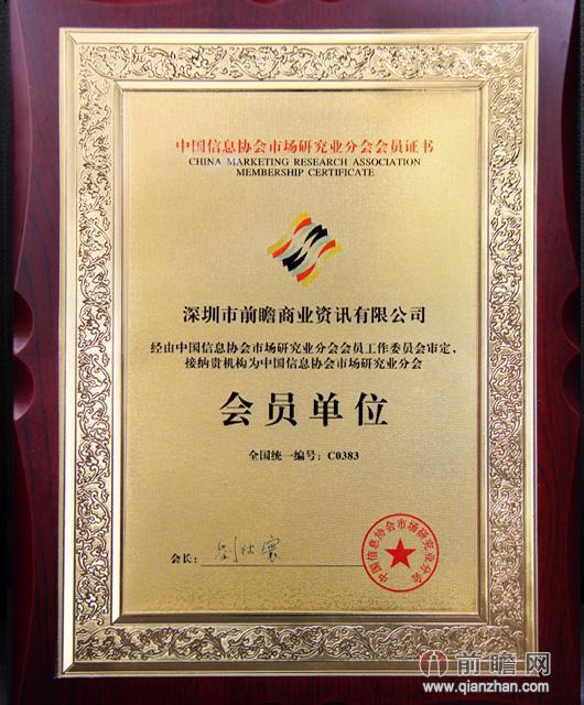 中国信息协会市场研究业分会会员证书