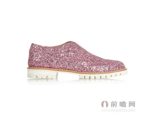 FINDS粉色亮片金葱皮革乐福鞋