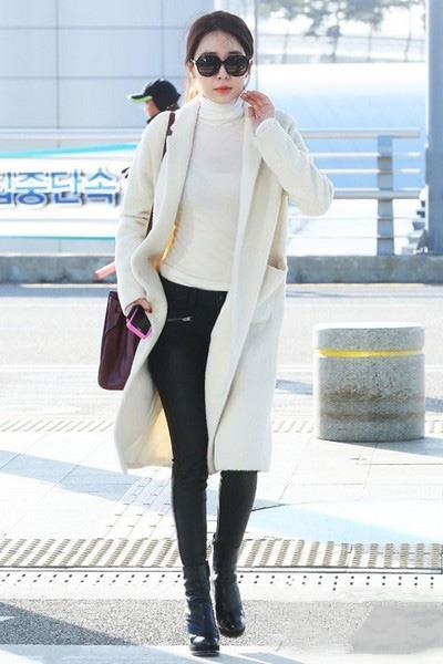 韩国女星冬季街拍 大衣实用搭配保暖时尚图片