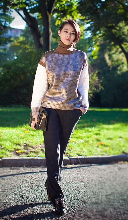 高领毛衣+西裤 胡杏儿的混搭风优雅有型