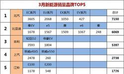 3月新能源车销量<em>排行榜</em>:众泰跌出前五