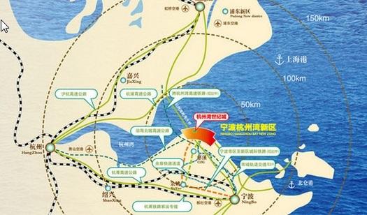 宁波杭州湾地理区位图