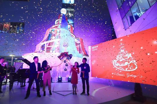 ECCO大中华区总经理董江白女士、ECCO厦门市场代表与商场高层共同点亮圣诞树