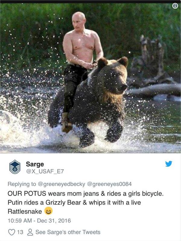 普京回应骑熊照