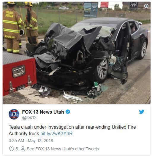 特斯拉追尾事故致车头损毁 疑因Autopilot未能识别静止车辆0