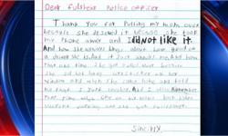 亲儿子!美国熊孩子给警察写信 感谢给妈妈开罚单为报复不让玩手机