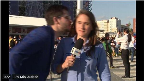 世界杯第二起!巴西女记者遇强吻果断拒绝 男子道歉后竟说是误会