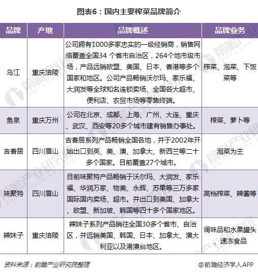 图表6:国内主要榨菜品牌简介