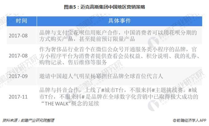图表5:迈克高斯集团中国地区营销策略
