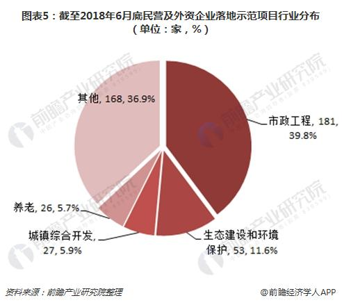 图表5:截至2018年6月底民营及外资企业落地示范项目行业分布(单位:家,%)