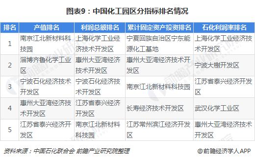 图表9:中国化工园区分指标排名情况