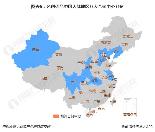 图表5:名创优品中国大陆地区八大仓储中心分布