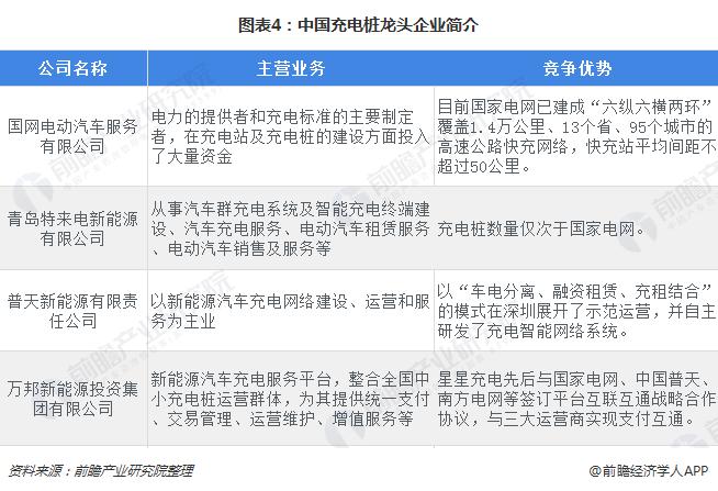 图表4:中国充电桩龙头企业简介