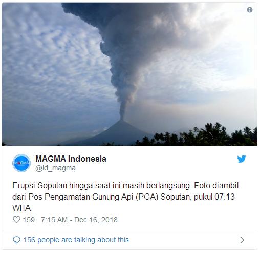 """壮观一幕!印尼活火山爆发灰柱高达7500米 太平洋""""火圈""""上这是家常便饭"""