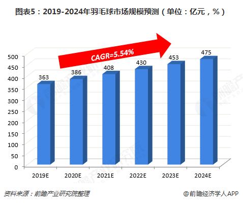 图表5:2019-2024年羽毛球市场规模预测(单位:亿元,%)
