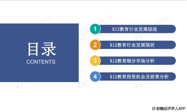 2019中國K12教育行業市場前瞻分析報告目錄