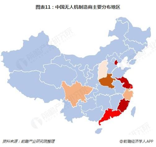 图表11:中国无人机制造商主要分布地区