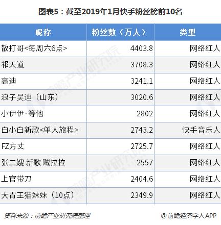 图表5:截至2019年1月快手粉丝榜前10名