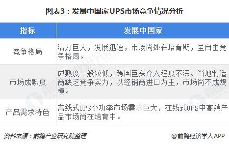 图表3:发展中国家UPS市场竞争情况分析