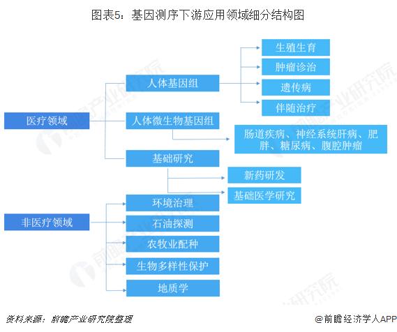 图表5:基因测序下游应用领域细分结构图