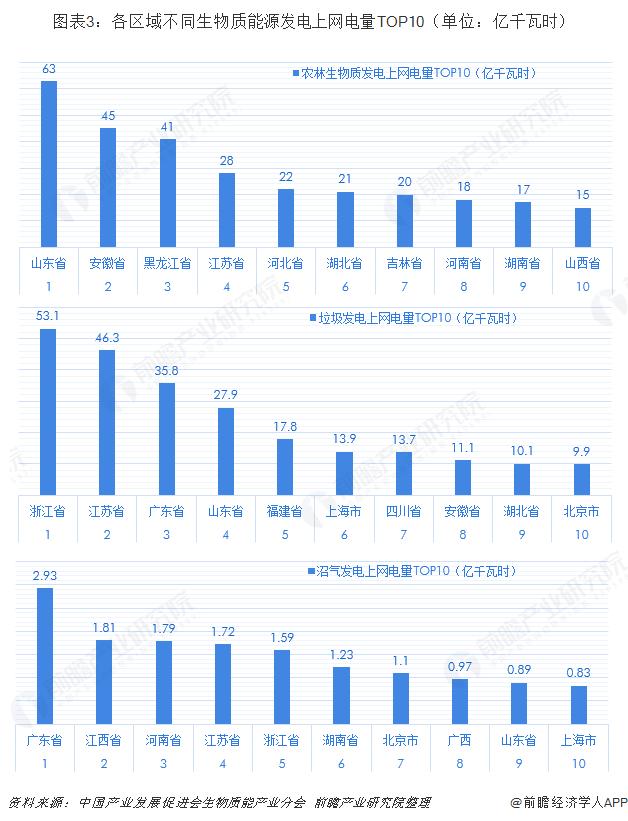 图表3:各区域不同生物质能源发电上网电量TOP10(单位:亿千瓦时)