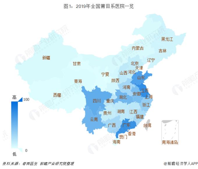 图1:2019年全国莆田系医院一览