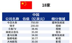 2018年中美独角兽差异行业分析——文化娱乐:中国涉足领域丰富,美国相对单调
