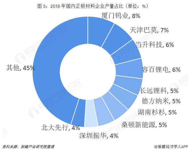 图 5:2018 年国内正极材料企业产量占比(单位:%)