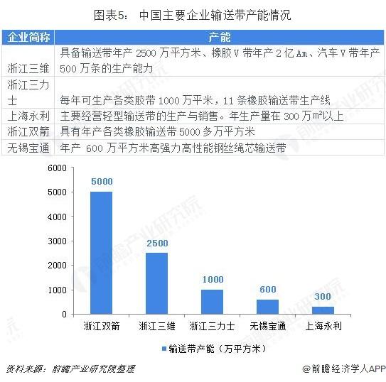 圖表5: 中國主要企業輸送帶產能情況