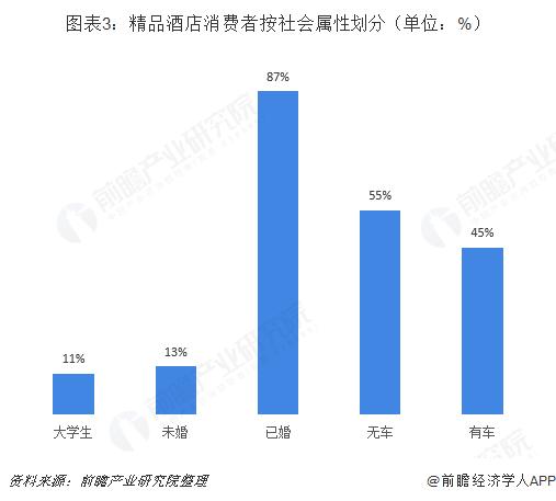 图表3:精品酒店消费者按社会属性划分(单位:%)